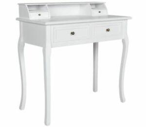 White Hand Made Wooden Bedroom Table Drawers Vanity Makeup Writing Desk Bureau