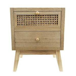 Cairns Bedside 2 Drawer Side Lamp Table Timber Veneer with Rattan Insets Natural