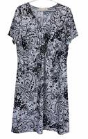 Noni B Womens Black/White Floral Short Sleeve Dress Size XL