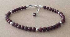 DARK RED Granato Pietre Preziose Perle, Argento Sterling, Con Perline Amicizia Braccialetto