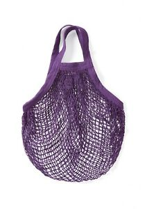 Purple String/net/mesh Ecofriendly Bag recycled unbleached cotton, Short Handles
