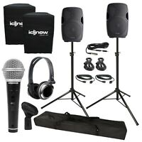 """Gemini AS-1500P 15"""" Active/Powered DJ PA Speakers 2 Pack +Stands +Covers +Cables"""