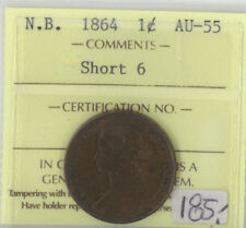 Canada N.B. 1864 One Cent ICCS Certified AU-55 XTG 856 Short 6