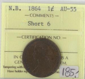 Canada N.B. 1864 One Cent ICCS Certified AU-55 XTG 856 Short 6