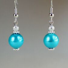 Turquoise blue pearls silver short drop dangle earrings wedding bridesmaid gift