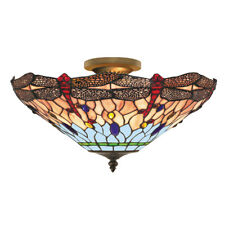 Searchlight 1289-16 Dragonfly Antique Brass Semi-Flush Tiffany Style Glass