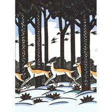 Pack of 8  Fine Art Xmas / Christmas Cards - Deer in Woods - V&A - Art Deco