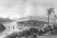 China PAZHOU ISLAND WHAMPOA PAGODA GUANGZHOU JUNK BOAT, 1842 Art Print Engraving