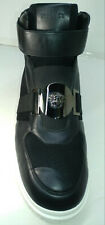 VERSACE BLACK WITH SILVER LOGO MEN' HIGH TOP SNEAKERS SHOES Men's US Size 12