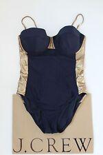 NWT J Crew Metallic Colorblock One Piece Swimsuit 6 Small NAVY C4005