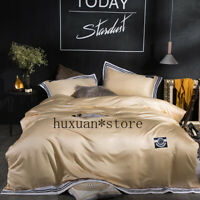 Luxury Washed Silk Bedding Set Silky Smooth Duvet Cover Set Bed Sheet Pillowcase