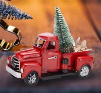 Christmas Decor Vintage Metal Classic Pickup Red Truck + Tree Farm House Rustic