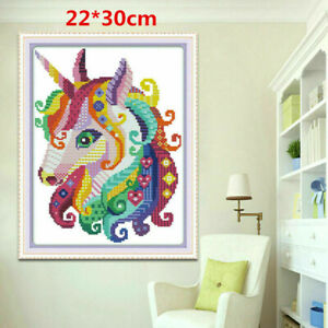 Rainbow Unicorn Counted Cross Stitch Kit 14 Count Aida DIY Craft Home Decoration
