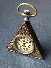 More details for vintage hiram brass masonic freemasons triangular fob pocket watch