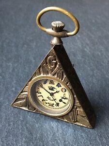Vintage Hiram Brass Masonic Freemasons Triangular Fob Pocket Watch
