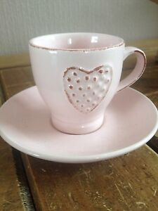 Small Appletree BV Heart Cup and saucers , stoneware