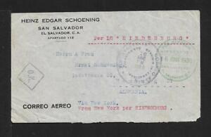 ZEPPELIN EL SALVADOR to GERMANY UNIQUE cover 1936 RARITY