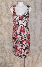 DAVID LAWRENCE Sz 12 grey red tencel metal blend sleeveless pleated Dress