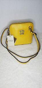 Pratesi Firenze Crossbody Bag Genuine Leather Made In Italy Mustard Yellow NWT