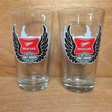 Miller High Life Harley Davidson 16 Oz Pint Glass ~ Set of TWO (2) Glasses ~ NEW
