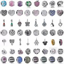 925 Zirconia Silver charms bead Pendant For sterling Bracelets Xmas Gift Jewelry