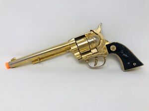 "Vintage Large 12"" Gold Cap Gun Pistol Hubley Cowboy 1950's Toy Revolver M21"