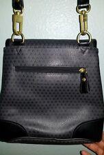 Vintage 1980s Liz Clairborne Purse Shoulder Bag Black Triangles Leather Trim