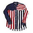 90s VTG RUDDOCK BROS SHIRT Western Cowboy USA Flag COLORBLOCK Patriotic XL Stars
