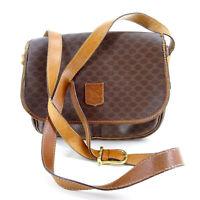 CÉLINE Classic Triomphe Handbag Vintage Macadam Monogram Messenger Bag in Brown