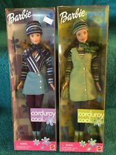 MATTEL BARBIE SET OF 2 CORDUROY COOL BLUE & GREEN NIB NRFB