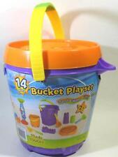 Purple Pail Bucket Playset 14 Pcs Sand Water Molds Shovels Orange Whale Sifter