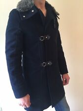 Ultra Rare - Mens Zara Grey Fur Collar navy tailored winter coat M 38