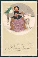 Gobbi Art Deco Lady and Borzoi dog LITTLE TEARS serie 2625 postcard QT6698