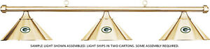 NFL Green Bay Packers Brass Metal Shade & Brass Bar Billiard Pool Table Light
