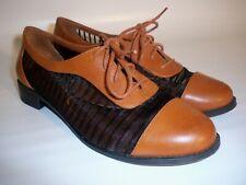 Jessica Simpson Size 6.5M Flat Lace Up, Black Mesh/Cognac Leather Oxford Shoes