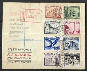 Latvia 1934/39 Commem, Complete On Cover, Reg, Toning, Unusual (H8)