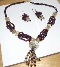 Rhodalite Garnet & Citrine necklace and earring set...387 carat