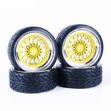 4Pcs Flat Drift Tires 3mm Offset Rims For HSP HPI 1:10 RC On-Road Car 12mm Hex
