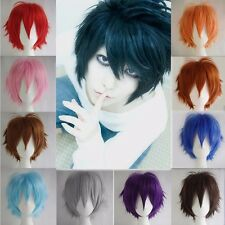 Anime Heat Resistant Short Wig Boys Girls Black Blue White Cosplay Full Wigs AB9