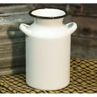 "Farmhouse White Enamel MILK CAN Vintage Style French Cottage Chic Vase 8"" Tall"