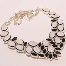 """Rainbow Shell In Black Onyx & Black Spinel .925 Silver Jewelry Necklace 18"""""""