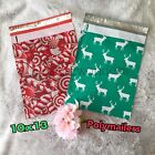100 Holiday Candy Canes Reindeers Design Printed Poly Mailers Shipping Envelopes