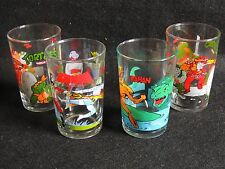 Lot de 4 verres à moutarde Tortues Ninja bioman rahan 1989-87-86 collection.