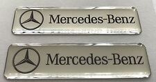2x MERCEDES Logo 3D Domed Stickers. Size 65x17mm.