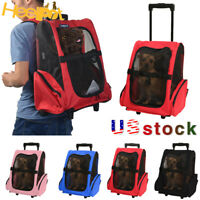 Dog Cat Pet Carrier Travel Rolling Wheel Luggage Airline Approved BackPack Bag