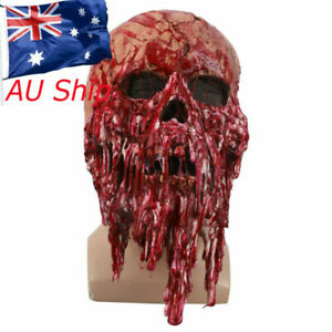 Scary Bloody Zombie Skeleton Face Mask Costume Halloween Horror Latex Mask Props