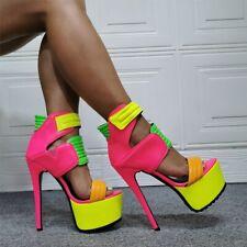Womens Multi-colors Snakeskin Sandals High Heels Platform Open Toe Gothic Shoes