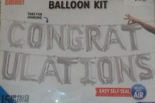 Congratulations Letter Balloon Kit - No Helium required - Silver - 16 inch