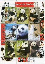 Guinea 1998 MNH Wild Animals of World Giant Pandas 9v M/S Panda Bears Stamps