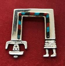 Vintage Sterling Silver Brooch Pin 925 Southwestern Turquoise Coral Onyx Person